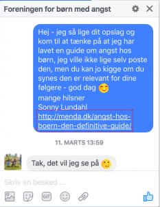 Facebook samtale med Mia